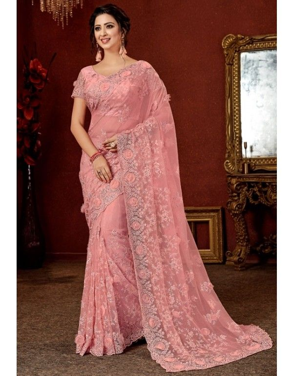 Pure Satin With Stone Diamond Work Saree Party Wear Women Fancy Sari