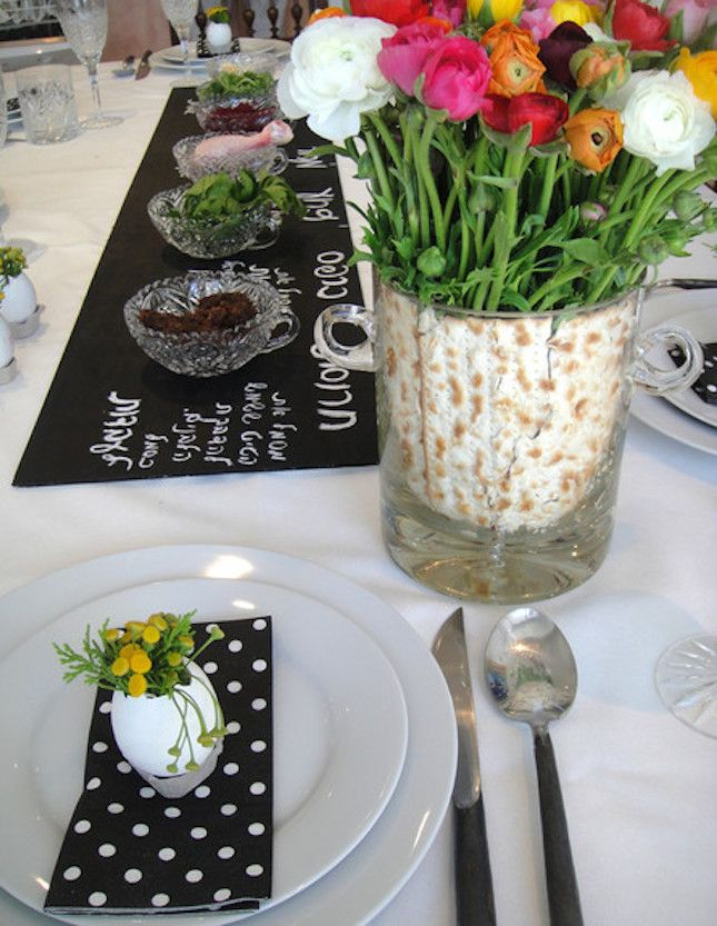 For a big table with lots of guests, this long chalkboard Seder plate is perfect so everyone can see what's going on.