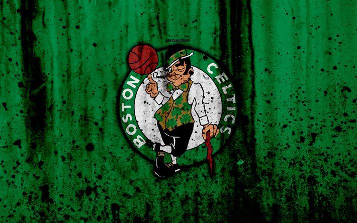 Download wallpapers Boston Celtics, 4k, grunge, NBA, basketball club, Eastern Conference, USA, emblem, stone texture, basketball, Boston Celtics logo