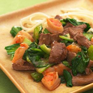 Spicy Beef with Shrimp and Bok Choy  Oyster sauce and rice wine give this speedy stir-fry a rich flavor that balances the clean, sweet crunch of bok choy. Make it a meal: Rice noodles or brown basmati rice and a Tsingtao beer will make you feel like you're eating in your favorite Chinese restaurant. - See more at: http://www.delish.com/recipes/cooking-recipes/quick-heart-healthy#slide-9