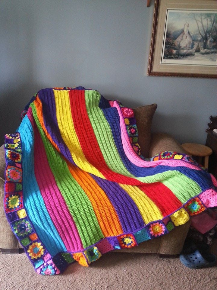 Image result for granny square rainbow baby blanket