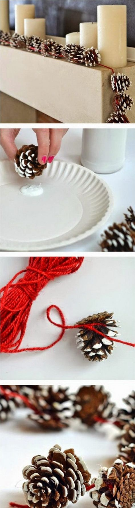 Pine Cone Garlands for Christmas Decoration. Create this simple pine cone garland for your winter or Chirstmas mantel decoration.