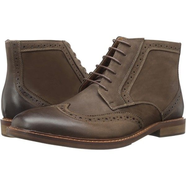 Steve Madden Daegan (Taupe) Men's Lace-up Boots ($50) ❤ liked on Polyvore featuring men's fashion, men's shoes, men's boots, taupe, steve madden mens shoes, steve madden mens boots, mens shoes, mens brogue boots and mens lace up shoes