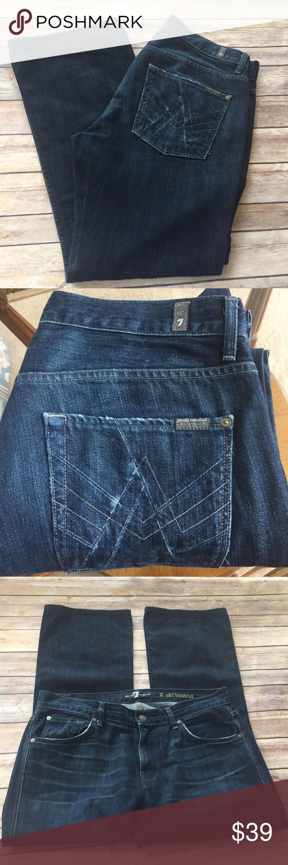 """7 For All Mankind A PKT Distressed Dark Jeans 33 These are Beautiful 7 For All Mankind """"A"""" Pocket Boot Cut Lightly Distressed Dark Wash Women's Jeans  They are in Excellent Condition  Material 100% Cotton Color Dark Wash Style ATE530967 Lightly Distressed Bootcut 7 For All Mankind Jeans Boot Cut"""