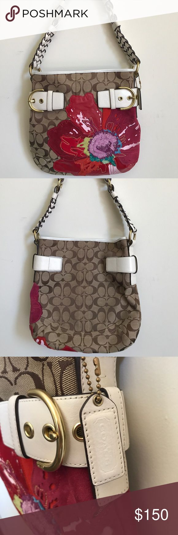 Coach poppy flower appliqué hobo Limited Edition Poppy flower appliqué on brown signature canvas. Gently used. Very good condition. Coach Bags Hobos