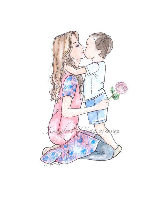 Mother & SonIllustrationfashion by JenniferChanbyDesign on Etsy