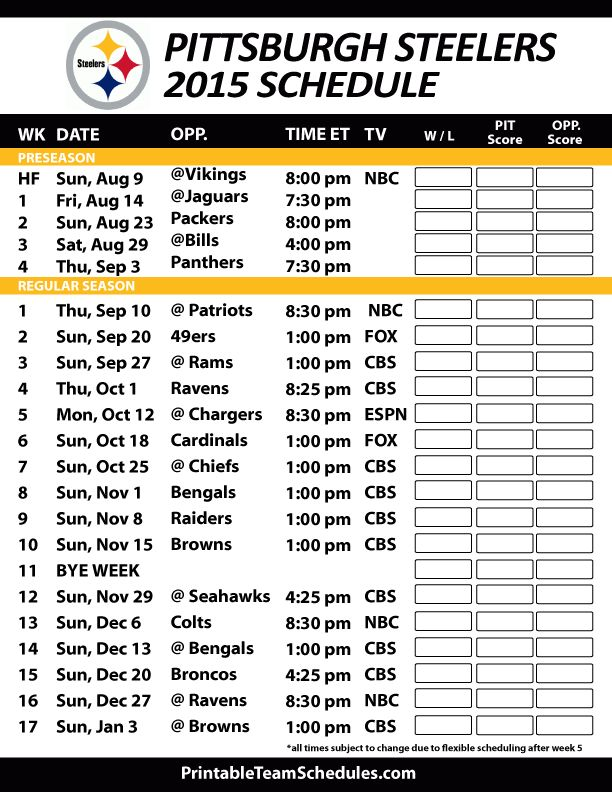 Pittsburgh Steelers 2015 Schedule. Printable version here: http://printableteamschedules.com/NFL/pittsburghsteelersschedule.php