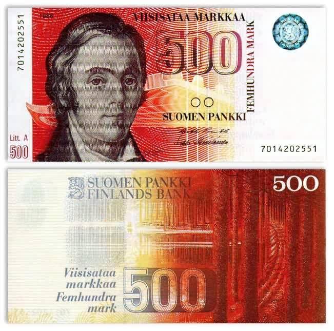 Finland 500 Markkaa 1986(1991) Lonnrot, Punkaharju