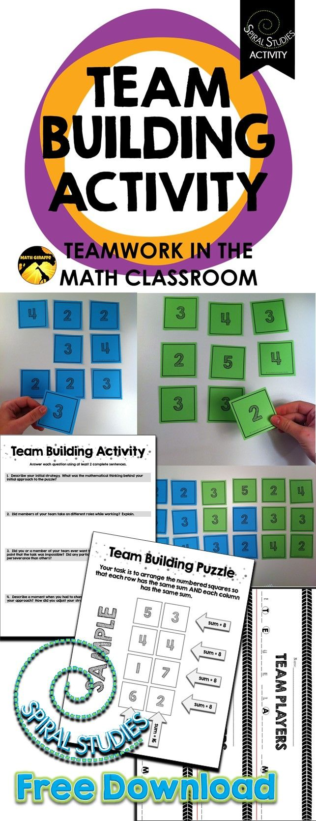 Team Building in Math Class A Free Spiral Studies Lesson
