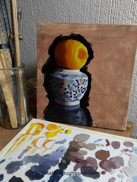 A painting in progress.