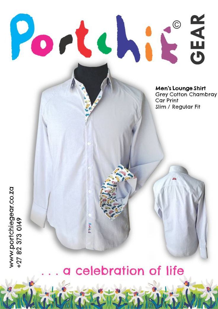 Men's #portchiegear shirt in grey chambray with car print and embroidery detail