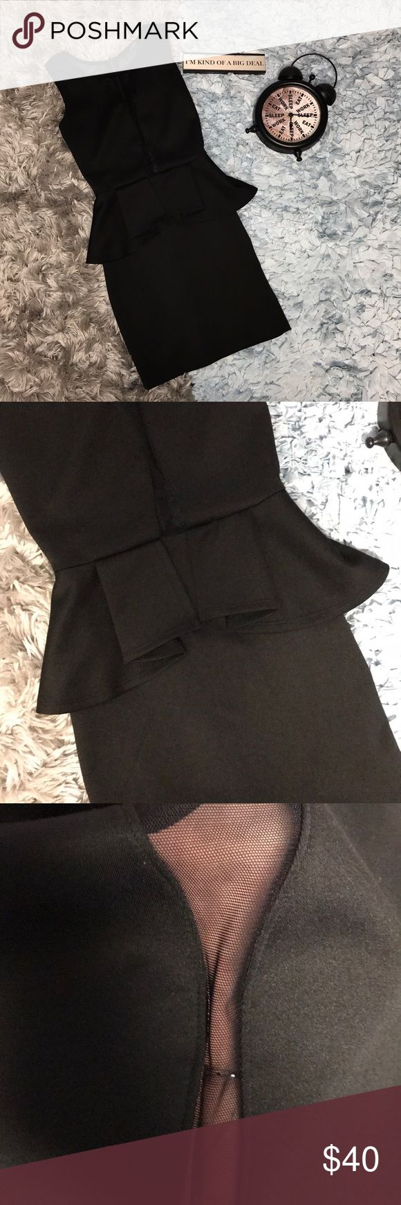 "Black Peplum Guess Dress Like new! The bust is approximately 29"" the waist is approximately 22"" the length of the dress is approximately 31"". The back is sheer and the front has sheer cleavage. Feel free to offer or bundle Guess Dresses"