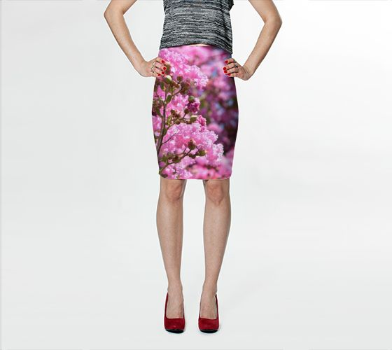 Pink Blossoms Fitted Skirt - Trū Canadian ArtWear by Nadia Bonello