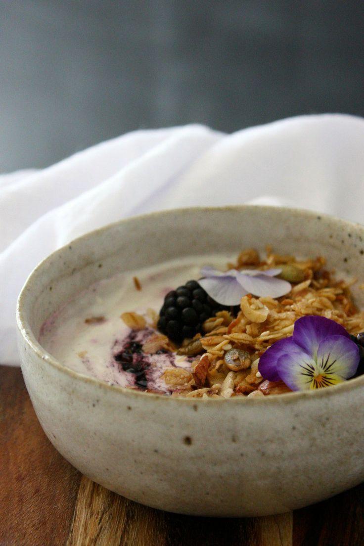 Blackberry swirl yoghurt bowl with home made granola + new beginnings I kristincosgrovecooks.com