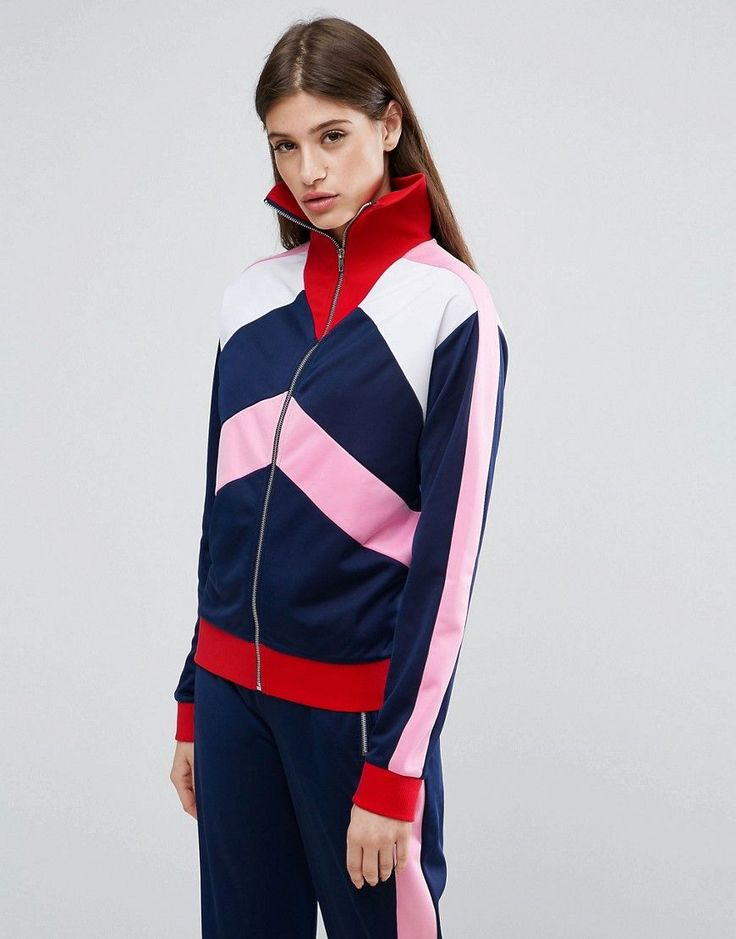 ASOS Tracksuit Top With Color Block Panels - Multi