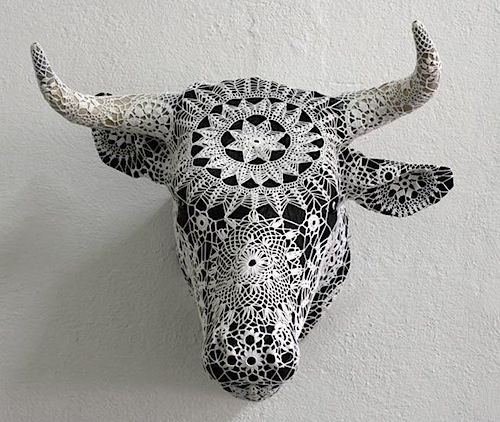 Joana Vasconcelos is a Portuguese artist who creates crochet covers, patterning existing objects. I think it really takes the mind of a sculptor to be able to crochet in such intricate three-dimens...