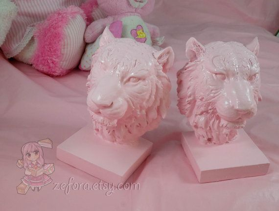 Pink Tiger Book Ends Hand Painted Ceramic Ornament Home by zefora