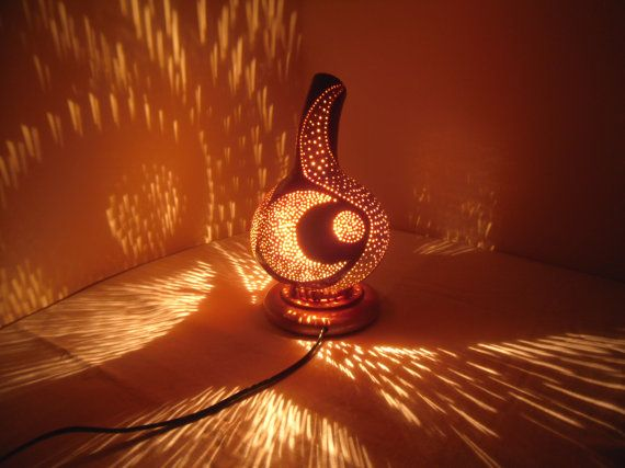 100% HANDMADE Gourd lamp  Kürbislampe handcrafted  by JUNIORCITY