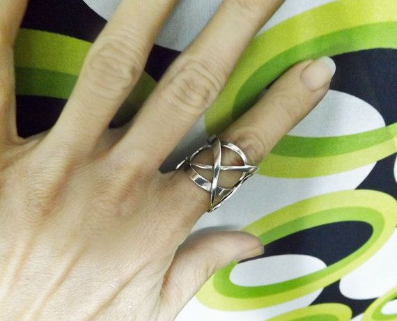 Wide Band Ring Sterling Silver Knot Adjusteble by BonTonJoyaux