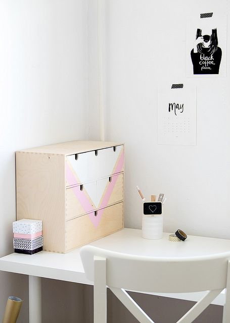 DIY graphic painted IKEA mini MOPPE drawers