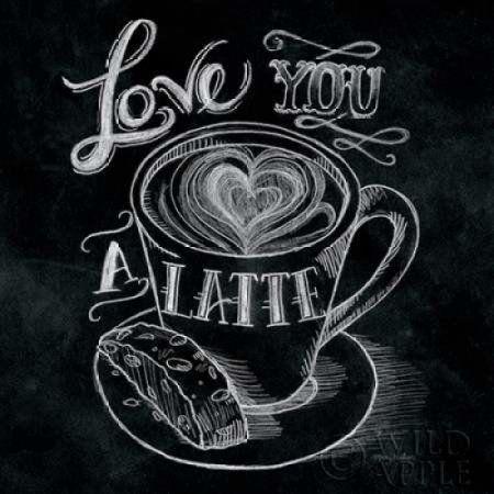 Love You a Latte No Border Canvas Art - Mary Urban (24 x 24)