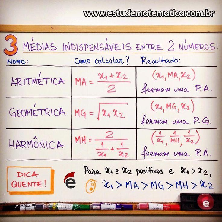 """573 Likes, 2 Comments - Estude Matemática (@estudematematica) on Instagram: """"Vale a pena ver de novo: quando alguém perguntar a você """"quanto vale a média?"""", responda """"qual…"""""""