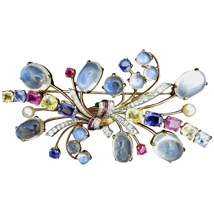 Raymond Yard Gemstone Brooch | From a unique collection of vintage brooches at https://www.1stdibs.com/jewelry/brooches/brooches/