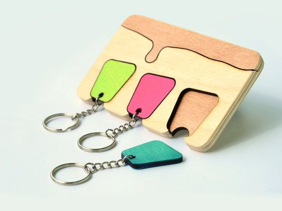 Wooden Key Holder /  Wall Laser Cut Keys by InspirativeLaser