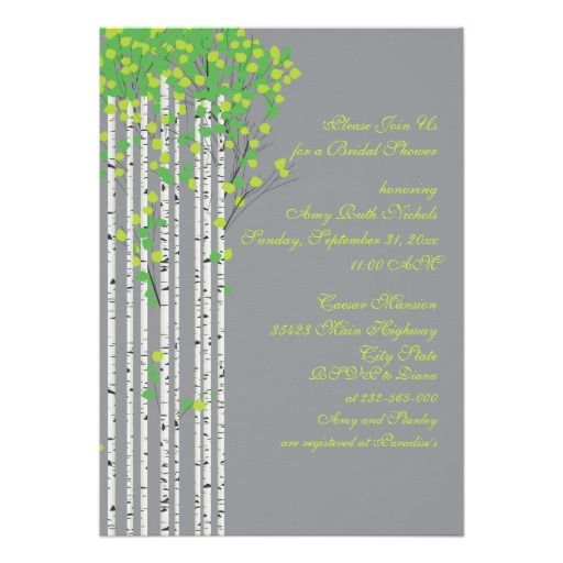 #Birch #trees green, grey #custom  #wedding bridal shower #invitation with green #leaves and #white #bark, part of a wedding set. #weddings, #bridalshower, #bride, #green, #limegreen, #winterwedding   See more designs http://www.zazzle.com/weddings_?rf=238228936251904937