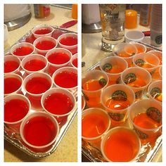 A New Twist on Jello ShotsI rum + fruit punch jello = rum punch jello shots (left). whipped cream vodka and orange jello = creamsicle.