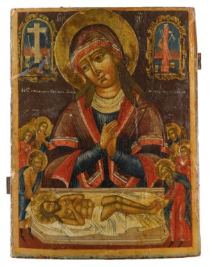 A Russian Icon of the Lamentation of Christ, second quarter, 19th century