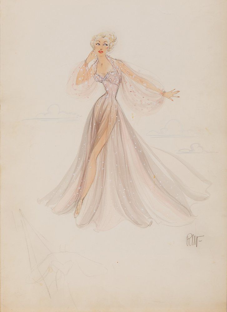 """Edith Head sketch of a sheer chiffon pink & grey gown costume design for Betty Hutton as """"Kitty McNeil"""" in Let's Dance"""