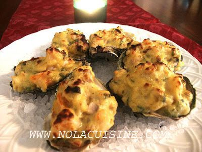 From Nola Cuisine--baked New Orleans Oysters. http://www.nolacuisine.com/2005/12/09/oysters-bienville-recipe/