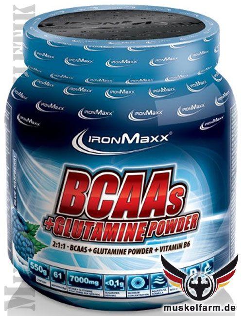 IronMaxx BCAA + Glutamin Powder mit den wichtigsten Aminosäuren für Muskelaufbau und Muskelerhalt, Trinkpulver in verschiedenen Geschmacksrichtungen.