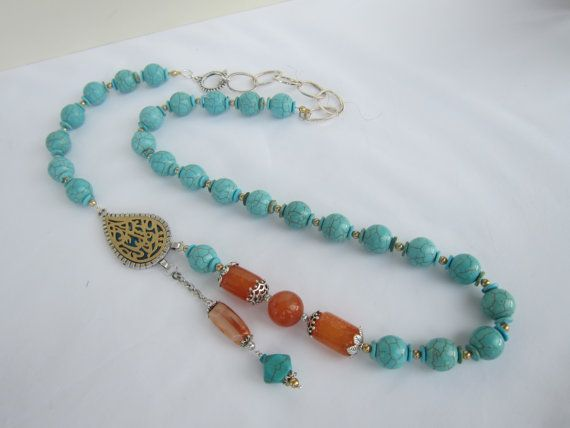 Turquoise Necklace Agate Golden Swarovski Pearls & by INJIJEWELRY