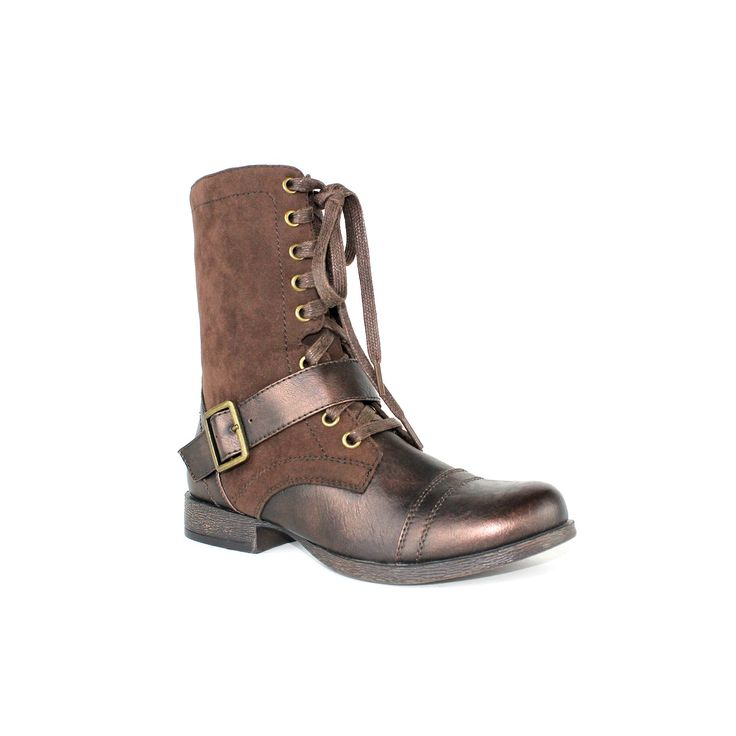 Olivia Miller Blaze Women's Military Boots, Teens, Size: 7.5, Brown