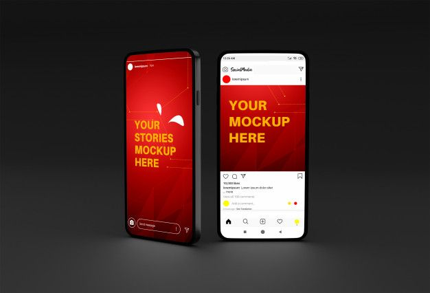 Mobile Phone Mockup With Instagram Stories And Post Template Instagram Story Phone Mockup Instagram Mockup