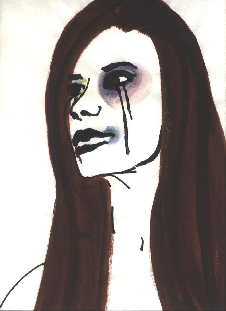 Face of Silence by Stanna Unruh - sharpie and watercolor art (portrait, domestic abuse, woman)