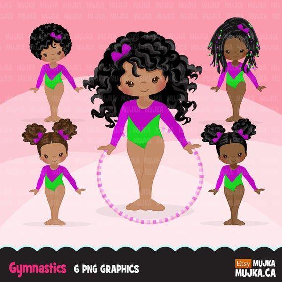Gymnastics Clipart Gymnast Black Girls Hula Hoop Sports Etsy Clip Art Digital Sticker Black Girls