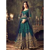 A flare that will always mesmerize and never fail to impress, this sea green coloured floor-length Anarkali suit is glam-pick for your special occasions. The georgette Anarkali kurta has intricat...
