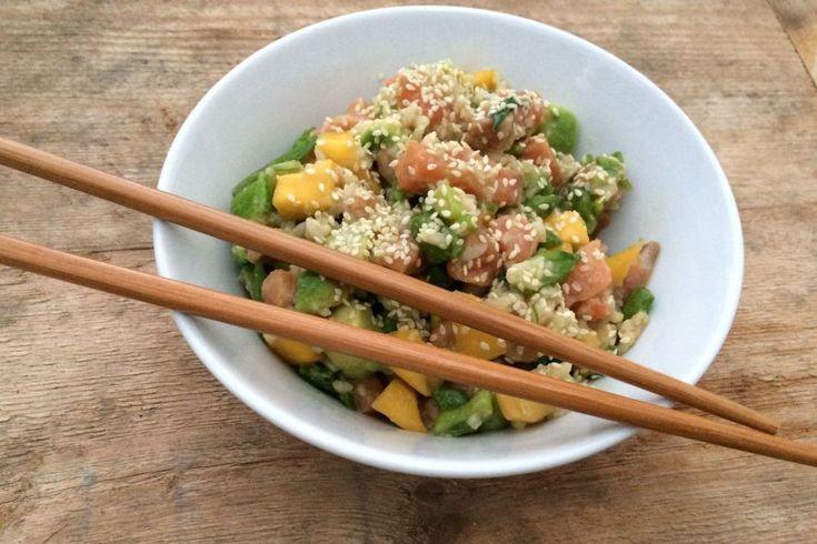 Poké bowl med laks, avokado og mango - Vektklubb
