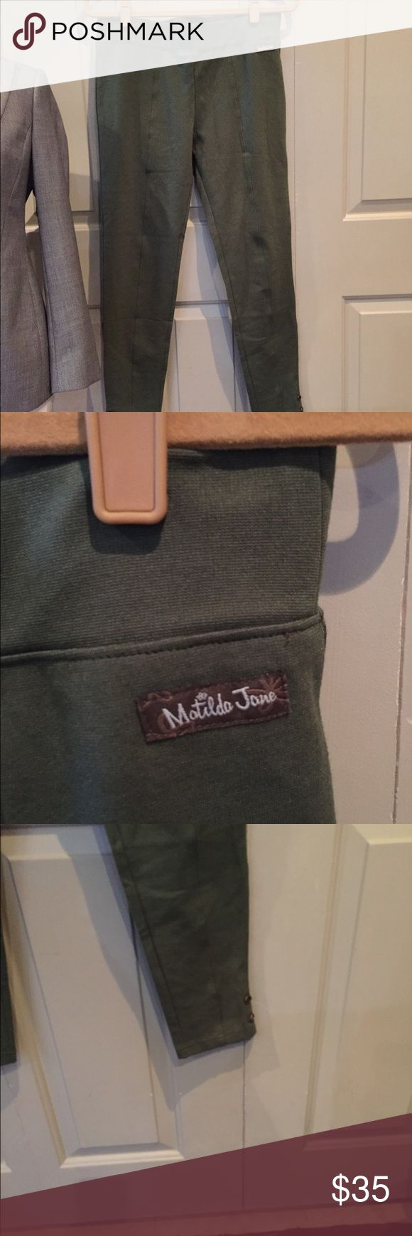 Matilda Jane olive leggings size M New with out tags. Super comfy- well made matilda Jane Pants Leggings