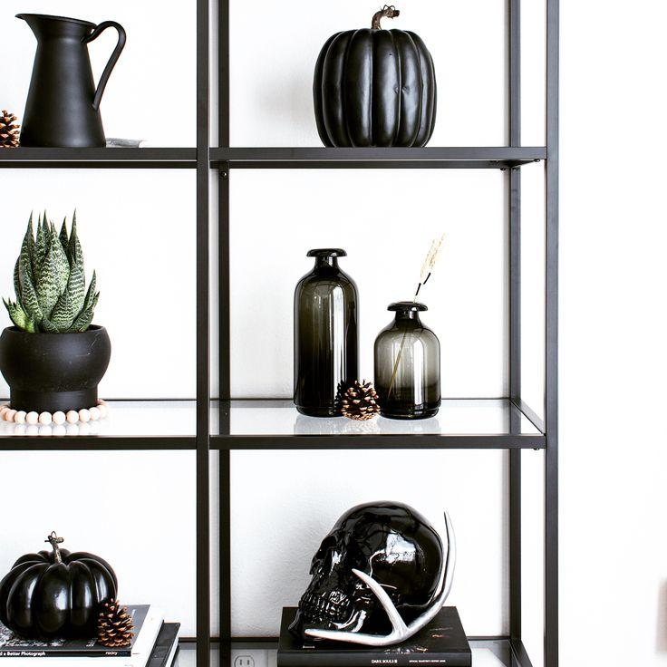 (@vee.zel) on Instagram: Halloween decor | Halloween decorating | Minimalist Halloween | Shelf display | Shelfie | Shelf styling | Shelf decor | Home decor | Nordic decor | Nordic inspiration | Black and white | Modern decor | IKEA Vittsjö shelves | Nerd decor | Monochrome | Skull decor | Succulents | Pumpkins | Black pumpkins | Antlers | All black decor