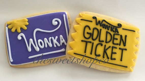 Golden ticket/wonka bars 2 dozen by TheSweetShopCookieCo on Etsy