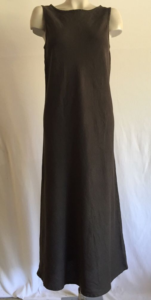 Eileen Fisher Long Linen Maxi Dress Sz M Eileenfisher