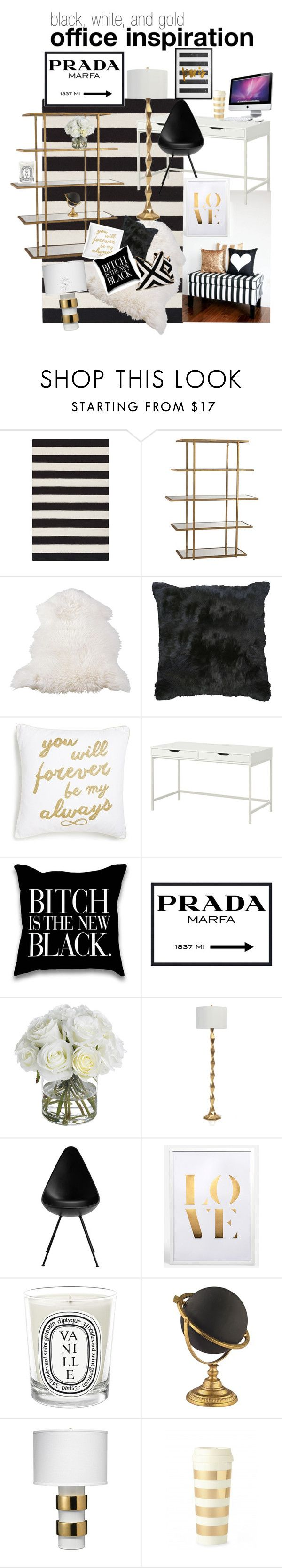 """""""black, white, and gold office inspiration"""" by sammantha-bishop on Polyvore featuring interior, interiors, interior design, home, home decor, interior decorating, Surya, Levtex, CO and Prada"""
