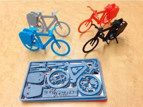 """Business card with touring bike plastic model, japanese size(a bit larger than U.S. card). Small plate for your name. Optimized for FDM printer with 0.4mm nozzle. It's better to fix parts with instant glue in each assemble steps. Inspired by Velociraptor Business Card http://www.thingiverse.com/thing:362357 . If you only want to build the model, download """"without_gates"""" file. Building steps are shown in Gallery. Printer: AFINIA H480 Filament: ABS Modeler: Au..."""