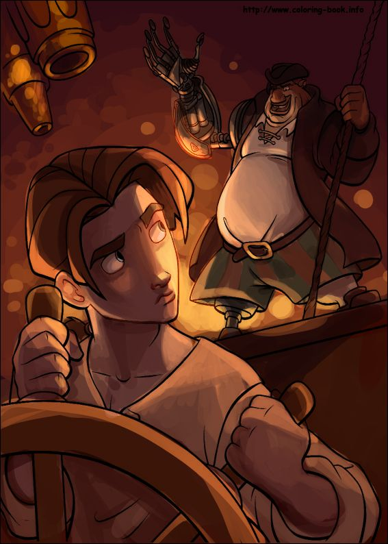 The other entry for 's coloring book contest, and as I mentioned before, it's a Treasure Planet page! My second favorite disney movie! As you'll see, the color mood is entirely different from the o...