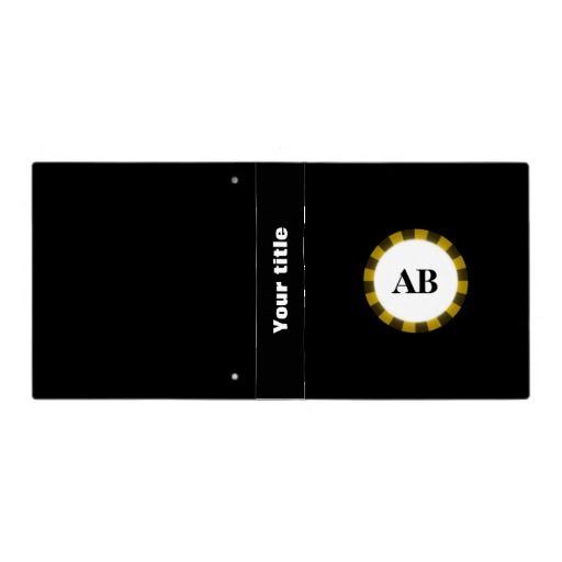 Black monogram design binder