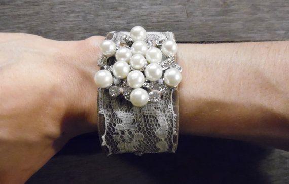 Brown Beige Ivory Lace Pearl Rhinestones Silver Brooch by EcoFolk
